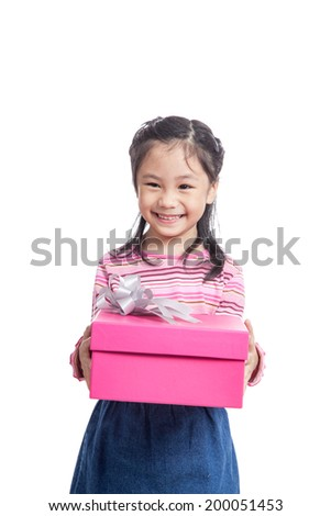 Asian little girl give a gift box and smile  isolated on white background