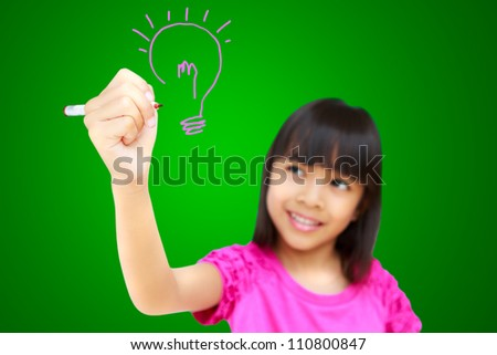 Asian little girl write ideas on white board with clipping path
