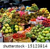 Asian market, exotic fruits - stock photo