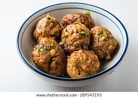Asian Meatballs on Isolated Background