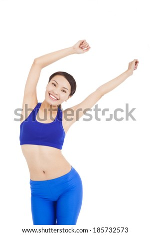 asian pretty woman make a waving arms pose