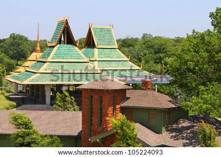 Asian style buildings with green roof