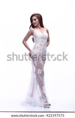 Asian Thai Female Woman Model People in Lace see through Sexy Wedding Dress, Fashion Make Up, Studio Lighting on White Background, Sweet Sexy Pose Stand Full Body