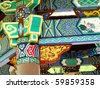 asian traditional ornament wall - stock photo