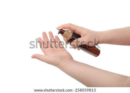 asian woman hand hold lotion, isolated on white