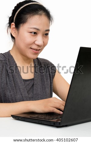 Asian Woman Using Laptop Computer in Isolated White Background