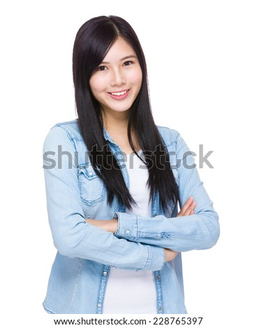 Asian woman with blue jean