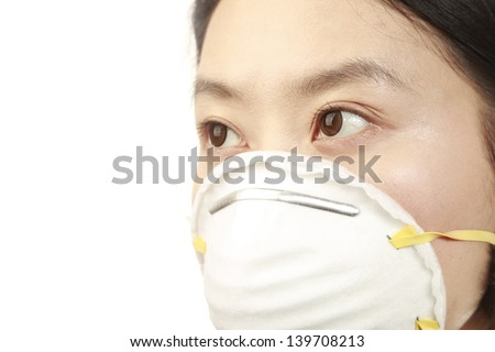 Asian woman with n95 face mask on white background