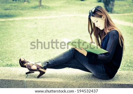Asian women student looking profile in university and smiling face