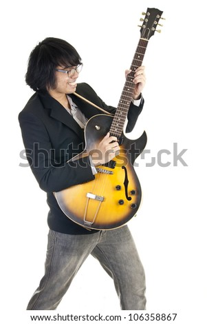 Asian Young Musician Playing Guitar Isolated On White Background