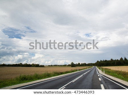 Asphalt auto road in summer green landscape of Estonia.
