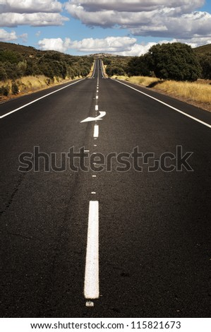 Asphalt road and white line marking. Close up low viewpoint.