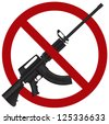 Assault Rifle AR 15 Gun Ban Symbol Isolated on White Background Illustration Raster Vector - stock vector