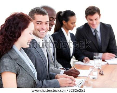 Assertive multi-ethnic business people in a meeting. Business concept.