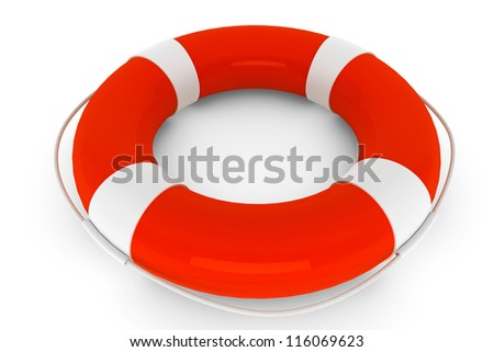 Assistance Concept. Life Buoy on a white background