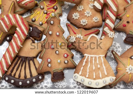 Assorted christmas gingerbread cookies on a food tray