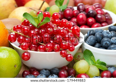 Assorted fresh fruit and berries, close-up, horizontal