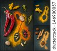 Assorted  of colorful spices on a chalkboard. Collage - stock photo