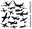 assorted plane silhouettes arriving and departing illustration JPEG - stock vector