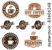 Assorted Vintage Coffee Graphics - stock vector