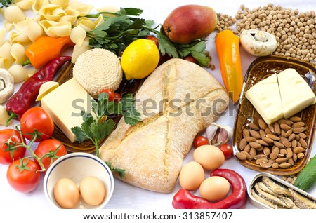 assortment of food products on table