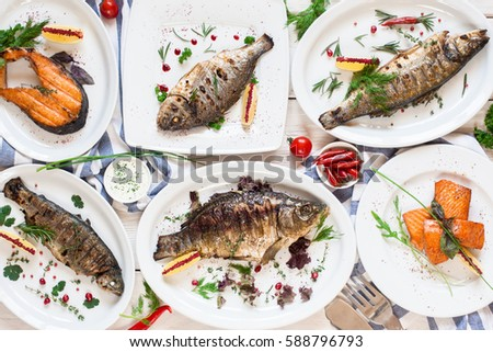 Assortment fried fasting fish dishes flat stock photo for Fish dish menu