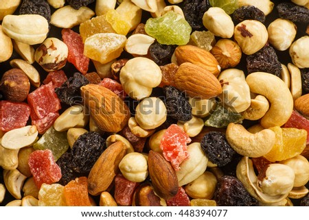 Assortment of Nuts and Candied Fruits, Top View Background