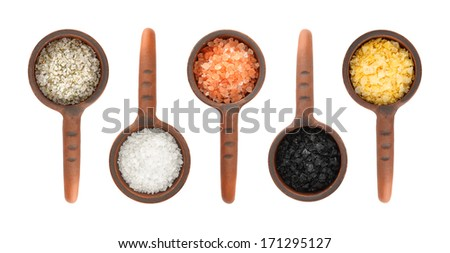 Assortment of Salts in ceramic scoop isolated on white background