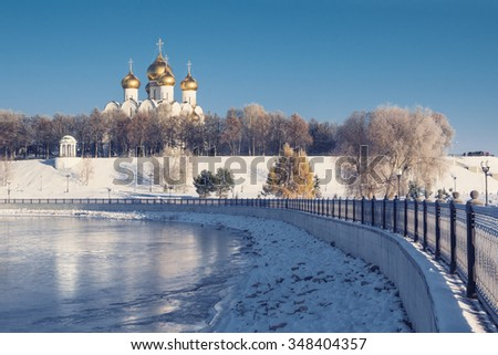 Assumption Cathedral in Yaroslavl winter on waterfront