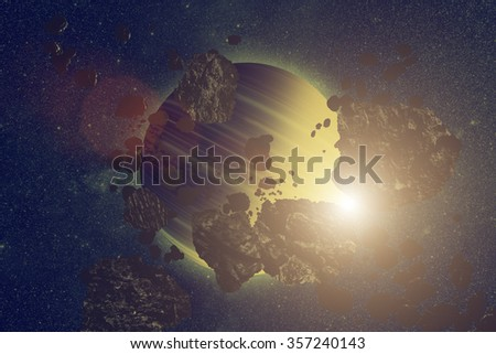Asteroids on a starry background. Digital illustration. No elements of NASA or other third party.