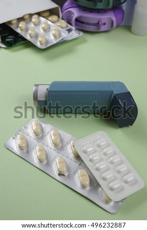 Asthma, allergy, illness relief concept, salbutamol inhalers, aerosol medication, drugs, copy space