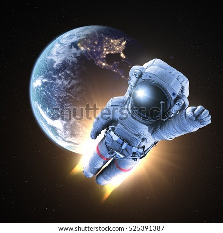 Astronaut conquers outer space, Earth and clouds textures furnished by NASA. 3d render