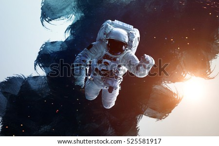Astronaut in outer space modern art. Elements of this image furnished by NASA.