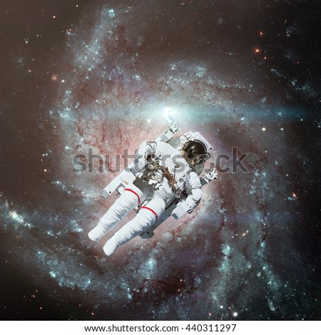Astronaut outer space nebula on background stock photo for Outer space elements