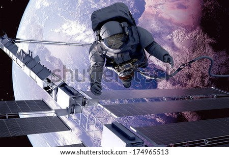"Astronaut in space around the solar battarei.""Elemen ts of this image furnished by NASA"""