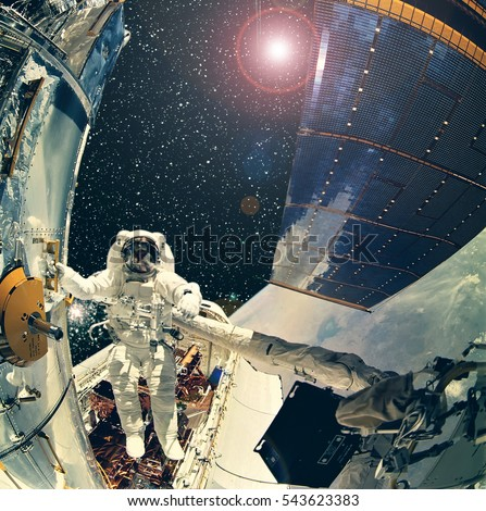 astronaut in outer space observe sky as - photo #26