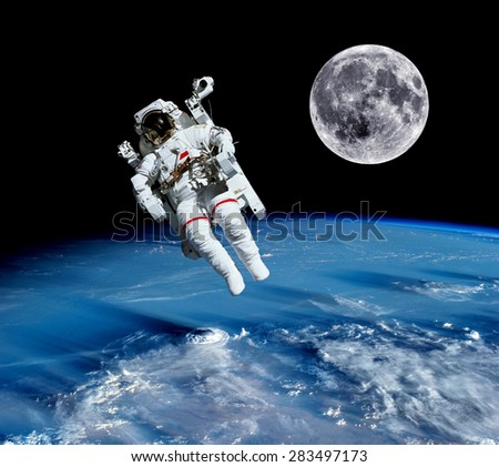 Two Astronauts Spaceman Outer Space Saturn Stock Photo ...