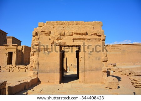 ASWAN, EGYPT - 16 NOVEMBER 2015 : Philae Temple which is the temple that was moved because Aswan Dam and Lake Nasser, Egypt. Philae was originally located on Philae Island. It is the temple of Isis