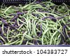 At a Farmers' Market: Organically grown green beans are on display for sale - stock photo