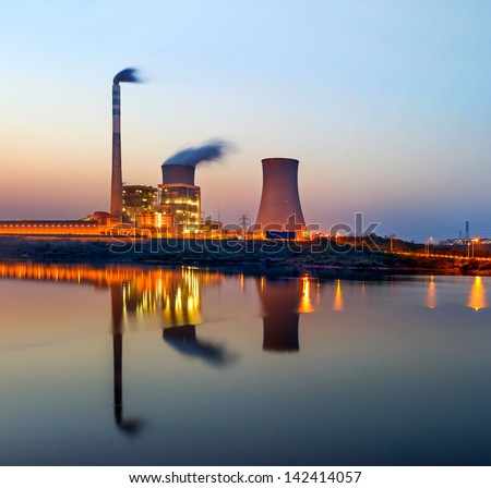 At dusk, the thermal power plants