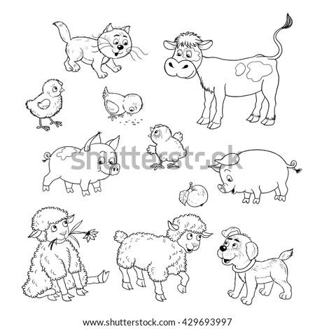 farm small set cute farm animals stock illustration 415014568 shutterstock. Black Bedroom Furniture Sets. Home Design Ideas