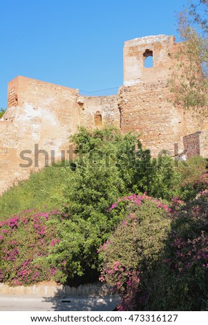 At wall of ancient fortress of Alcasaba. Malaga, Spain