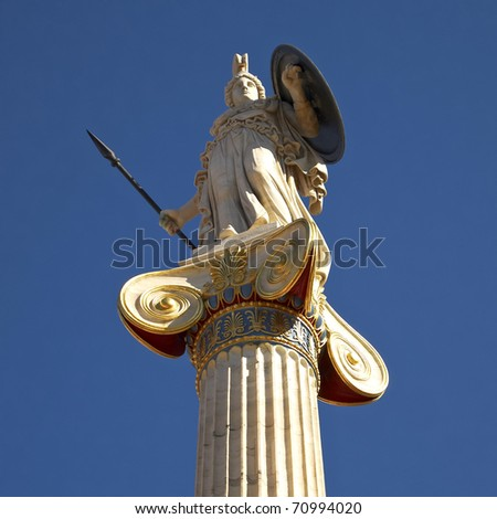 Athena statue on Ionian column