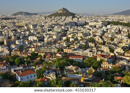 ATHENS, GREECE -14 JULY 2016- View of central downtown Athens as seen from the ancient Greek Acropolis.