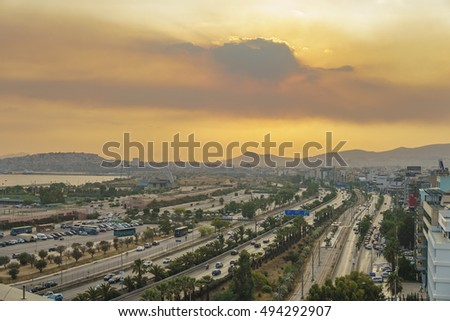 ATHENS, GREECE - JUNE 2016: Poseidonos avenue also known as Paraliaki is a coastal road in Athens. It runs form Faliro in Piraeus to Glyfada and beyond, traversing all the coastal suburbs of Athens