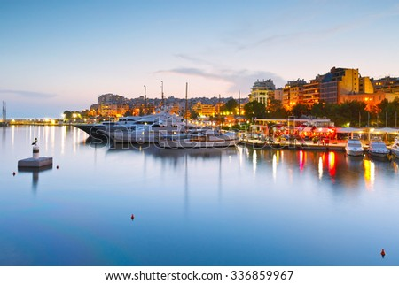 Athens, Greece - October 20, 2015: Evening view of Zea Marina in Athens, Greece