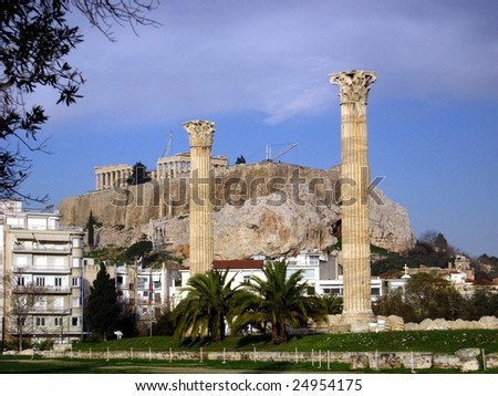 Athens,view to Acropolis with ancient columns