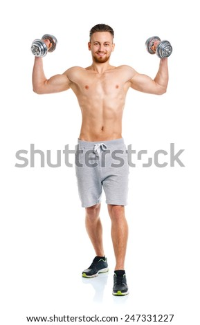 Athletic man with dumbbells on the white background