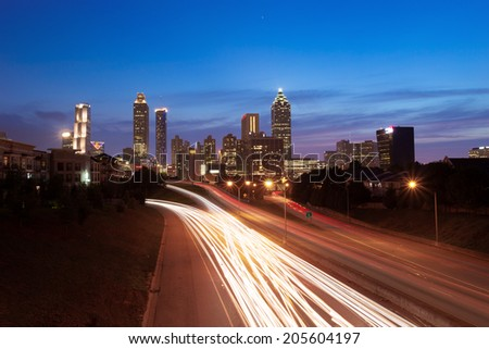 Atlanta downtown with traffic flow