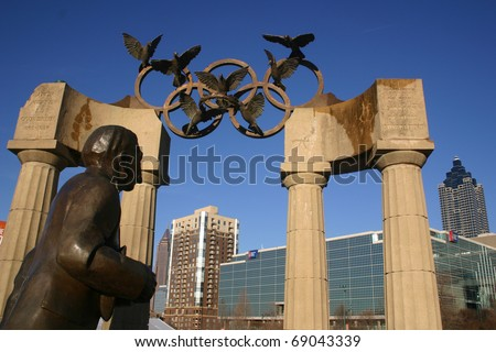 ATLANTA, GA - JAN 14: The Olympic rings remain prominent in Centennial Olympic Park fifteen years after Atlanta hosted the Olympic games (1996), January 14, 2011.